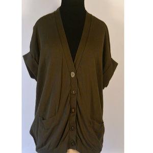 Army Green SS V-neck Cotton Knit Sweater Jacket L
